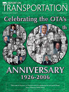 Report on Transportation front cover showing faces from the OTA in the shape of 80 for the 80th anniversary
