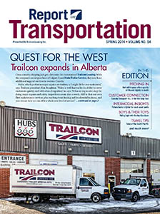 Report on Transportation front cover showing a Trailcon location with trucks parked out front