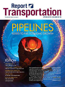 Report on Transportation front cover showing a worker inside a pipeline